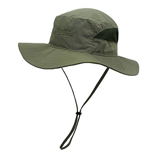 Ala ancha, borde suave, de secado rápido pescador sombrero, anti-ultravioleta Pesca Cap, al aire libre Senderismo Sombrero de sol, respirable, Delgado, hombres y mujeres de ala grande,Army green