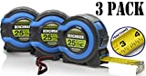 3 Pack - 25 FT - Benchmark Tape Measure / Measuring Tape - Easy to...