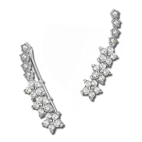 SilberDream, GSO461W - orecchino Ear Cuff a forma di tralcio fiorito, da donna, argento sterling 925