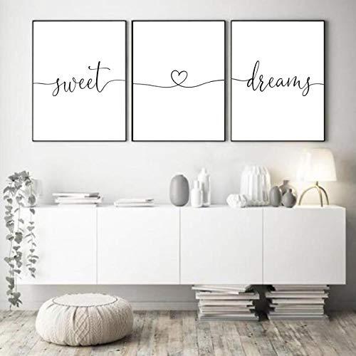 ZMFBHFBH Carteles de Lienzo Impresiones en Blanco y Negro Sweet Dreams Quotes Heart Love Canvas Painting Nursery Wall Art Pictures para Dormitorio 30x42cmx3pcs Sin Marco