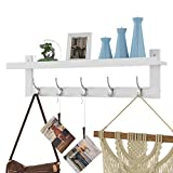 HOMFA Bamboo Entryway Wall Shelf Hanging Shelf 29 in L, Wall-Mounted Coat Hook Rack with 5 Dual Metal Hooks for Hallway, Bathroom, Living Room, Bedroom, White Color