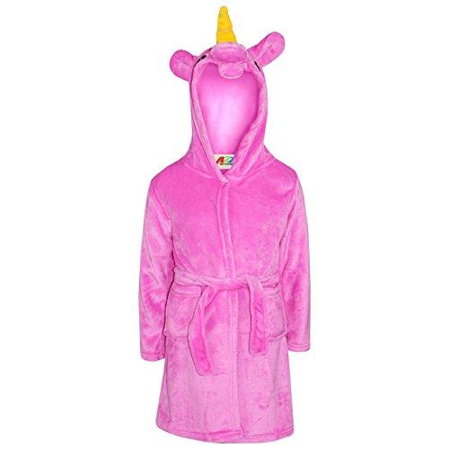 A2Z 4 Kids® Albornoz para niñas y niños, suave, con capucha, forro polar, diseño de unicornio, cosplay, bata de baño para noche de 5 6 7 8 9 10 11 12 13 14 años
