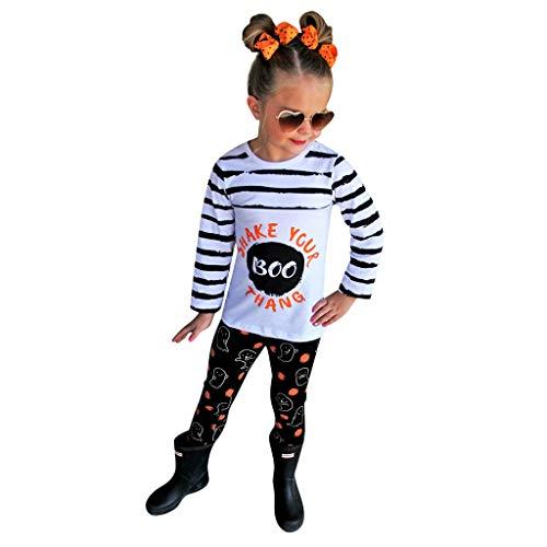 Janly Clearance Sale Conjunto de pantalones para bebs de 0 a 10 aos de edad, para nios y nias con rayas, pantalones de calabaza, disfraz de Halloween, para 3 a 4 aos (blanco)