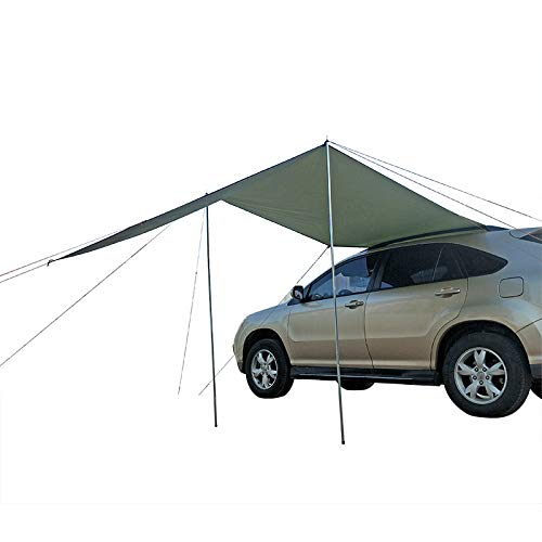 BLJS Portable Car Side Awning, Anti-UV Rooftop Sun Shelter Shade SUV Camping Canopy for Camping Outdoor Travel Hiking Tents Accessories Kit,300 x 200cm