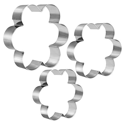 KSPOWWIN 3 Pieces Cookie Cutters Set Stainless Steel Mold Flower Shape Cookie Cutter in Graduated Sizes Shape Molds