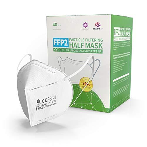 40 FFP2 Maske - EU CE zertifizierte Masken nach EN149:2001+A1:2009 - Atemschutzmaske Partikelfiltermaske - Hohe Filtration - Versand aus Deutschland