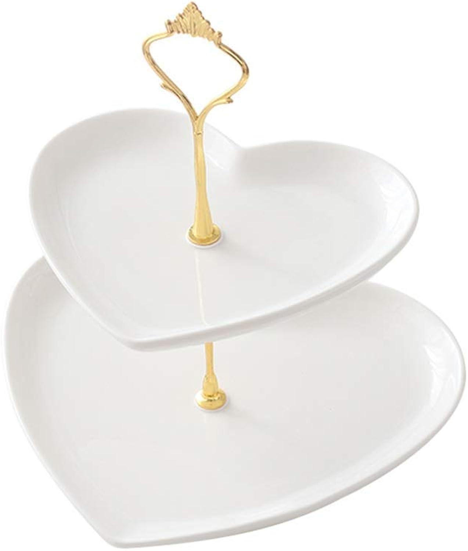 NMDD Assiette à Dessert avec Support à gateau en céramique à Deux Fruits, Cadre de Support en métal en Forme de Coeur pour HBJP
