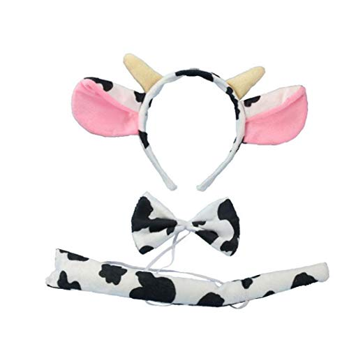 3 Piezas De Vaca Ganado Traje Cosplay Diadema Partido De Unión De Los Favores De Niños Adultos Vestido De Lujo del Partido