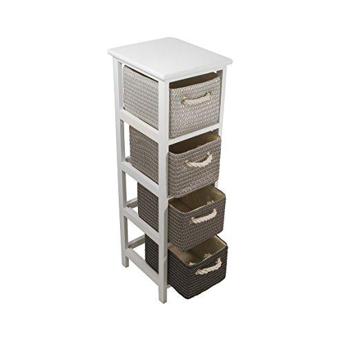 FRANDIS Meuble Victoria-4 tiroirs, Structure Bois laqué Blanc, paniers tressés, Coloris Gris/Noir Dim Produit : 25 x 29 x 86 cm