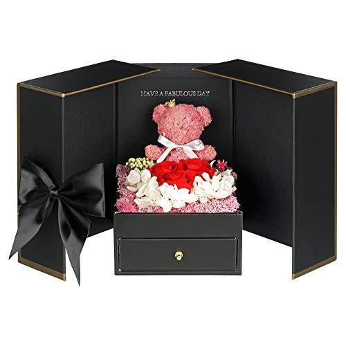 TRIPLE K - Geschenkbox mit ewige Rosen, konservierte Infinity Rosen 3 Jahre haltbar (inkl. Grußkarte & Tragetasche) Überraschungsbox als Geschenk für Valentinstag/Jahrestag/Geburtstag
