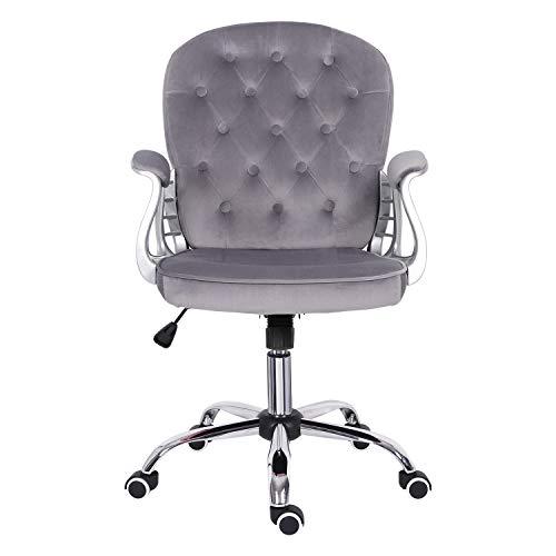 Grey Office Chair,Velvet Desk Chair with Armrest Ergonomic Computer Chair with Rocking Function Mid Back Executive Chair Comfy Padded Swivel Chair