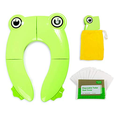 Foldable Potty Seat with 10 Disposable Paper Toilet Covers - Green Non-slip Portable Restroom for Boys Girls Kids Travel, Baby Toddler Training Booster and Camping Urinal Protection