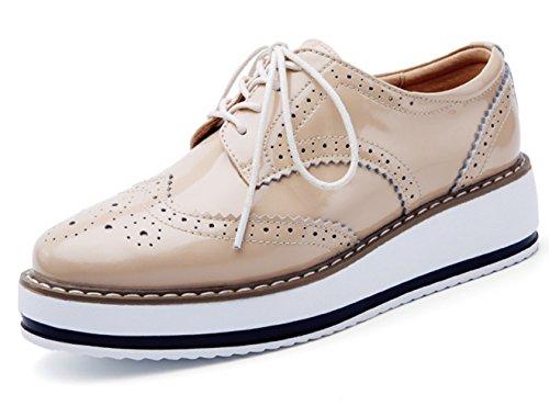 DADAWEN Women's Platform Lace-Up Wingtips Square Toe Oxfords Shoe Apricot US Size 10/Asia Size 43/26.5cm