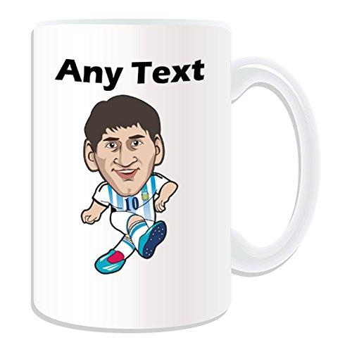 Regalo personalizado–grande Leo Messi taza (estrella de fútbol diseño tema, blanco)–cualquier nombre/mensaje en su única taza–LFA Primera división FC Barcelona–Lionel Andrés Cuccittini Argentina