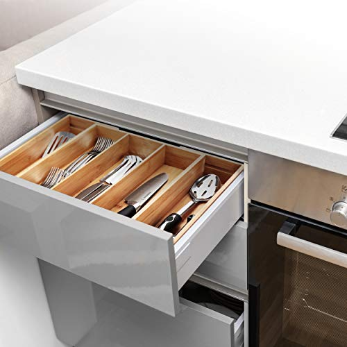 PRISTINE BAMBOO Adjustable Kitchen Utensil Drawer Organizer - Expandable Utensil Organizer - Deep Wood Kitchen Drawer Organizer for Large Utensils Silverware Flatware Cutlery - Cooking Utensil Holder