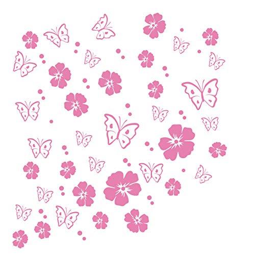 kleb-drauf | 19 Blüten, 19 Schmetterlinge und 42 Punkte | Rosa - matt | Wandtattoo Wandaufkleber Wandsticker Aufkleber Sticker | Wohnzimmer Schlafzimmer Kinderzimmer Küche Bad | Deko Wände Glas Fenster Tür Fliese