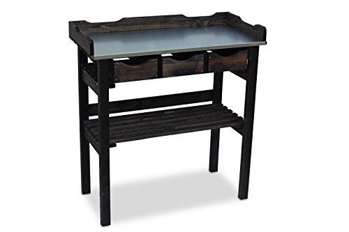 Table de jardinage en bois avec 3 tiroirs Anthracite B78 x T38 x H82 cm