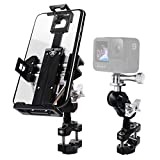 Metal Phone Mount for Motorcycle Handlebars with Camera Mount,Universal Anti Vibration Aluminum Holder for iPhone, Samsung, etc., Adjustable to Fit All Motorcycle and Harley Davidson(Silver)