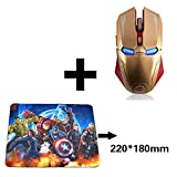 2.4 GHz Wireless Iron Man Mouse,Slim Silent Ergonomic Optical Mice with USB Receiver 6 Buttons and 1200/1600/2400 DPI Adjustable Wireless Gaming Mouse for PC/Laptop/Desktop/Mac(Gold with Mouse Pad)