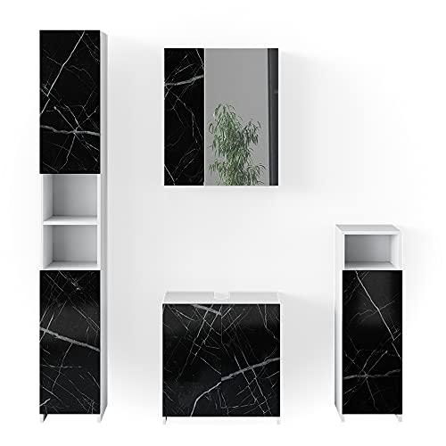 Vicco Badmöbel Set Waschbeckenunterschrank Spiegelschrank Nero Marmoroptik (Set4)
