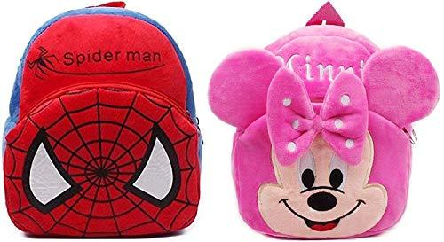 Blue Tree School Bagback for Kids 3-5 Years Soft Toy Bags Birthday Return Gift, School Bag Spiderman & Minnie