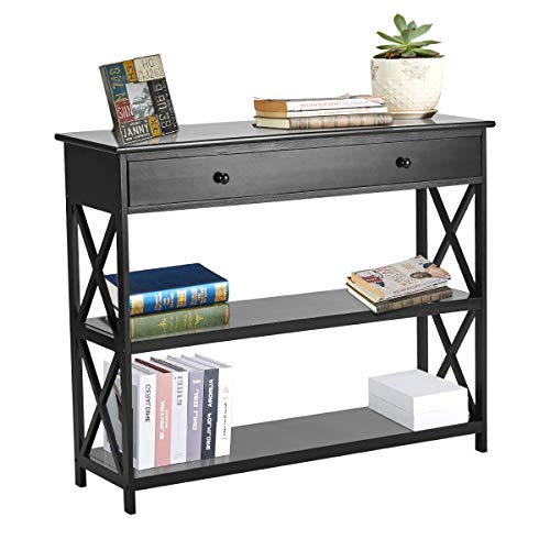 MELLCOM Console Table Entryway Table 3 Tiered Sofa Table Classic X Design with Drawer, Entryway Hall Table, Sofa Tables Narrow Easy Assembly Black