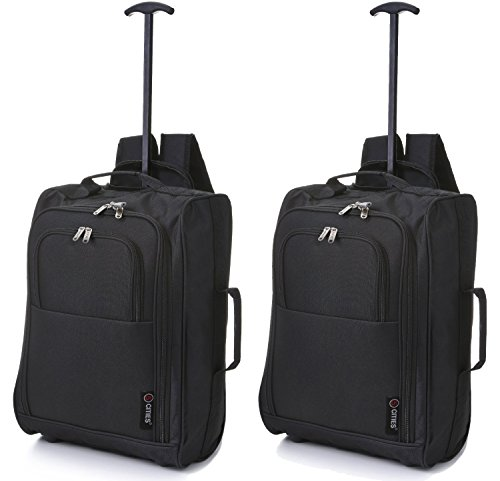 Set of 2 5 Cities Cabin Trolley Bag Hand Luggage with Backpack Option 42L Black