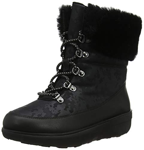 FitFlop Womens Holly Shearling Lace Up Winter Boot Shoes, Black, US 6.5