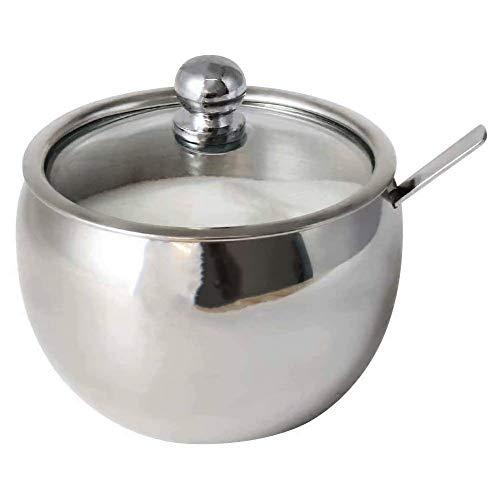 Mopoin Azucarero de acero inoxidable con tapa de cristal y cuchara, recipiente...