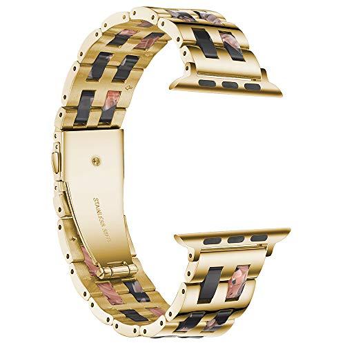 Compatible con correas de reloj Apple de 38 mm y 42 mm, de resina de acero inoxidable y metal para iWatch Series 6/5/4/3/2/1 y iWatch SE (38 mm)