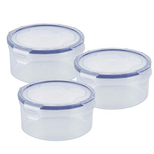 EUROXANTY Set 3 fiambreras redondas | Recipientes de Polipropileno | Contenedores de alimentos | Herméticos | Cierre de seguridad | 100 ml