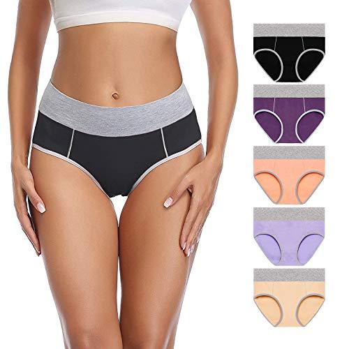 SheSsexy Womens Underwear, Cotton Ladies Panties Comfortable Briefs Breathable Mid Waist Underwear for Women Multipack
