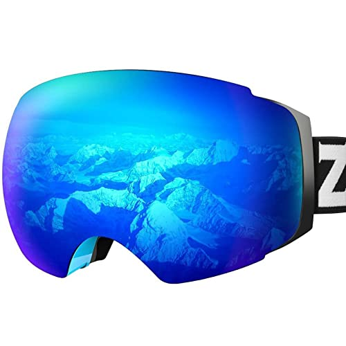 ZIONOR X4 Ski Snowboard Snow Goggles Magnet Dual Layers Lens Spherical Design Anti-Fog UV Protection Anti-Slip Strap