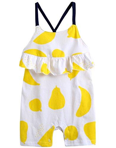 vaenait Baby 56–80 sau TONGLING Combinaison Grenouillère à manches longues Jeu pour bébé Lemon Fruits - Jaune - L
