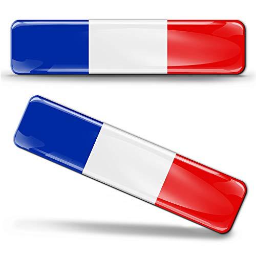 Biomar Labs® 2 x Aufkleber 3D Gel Silikon Stickers Frankreich France Flag Französische Flagge Fahne Autoaufkleber F 8