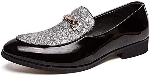ZRH Zapatos Hombre Vestido Clásico for Hombres Zapatos Formales Resbalón Estilo Piel De Microfibra Metaldecor Personalidad Costura De Punta Redonda Botines Hombre (Color : Silver, Size : 42EU)