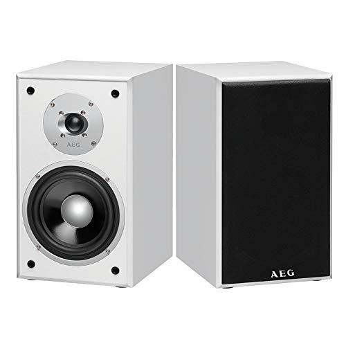Lautsprecher Boxen Regal Retro Musikbox Weiß 2 Wege Boxen Set (Fernseher Boxen, Regallautsprecher Paar, HiFi Box, 350 Watt PMPO)