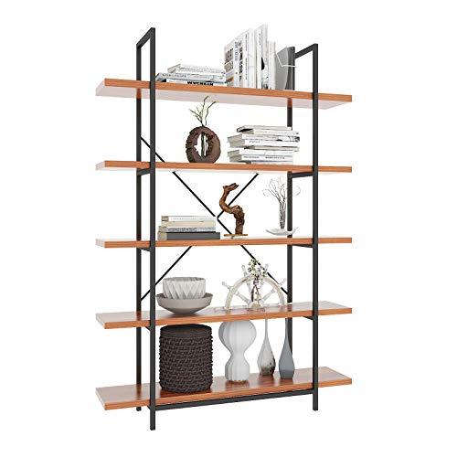 Himimi Bibliothèque Étagère à livres étagère d'angle étagère en design industriel étagère à 5 compartiments pour bureau, salon, chambre, 120 x 30 x 180 cm