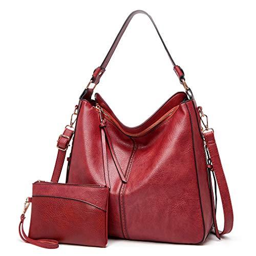 Lifetooler Set Bolsos Mujer Grande PU Cuero De Hombro Bolsos Tote Monedero Hobo Bolsos Regalos Para Mujer (rojo)