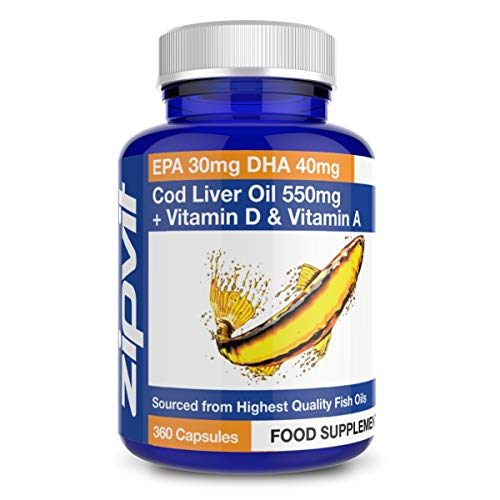 Cod Liver Oil 550mg with Vitamin A and Vitamin D, 360 Softgels. Rich in Omega 3 EPA and DHA. Supports Heart Health, Brain Health, Eye Health and Normal Blood Pressure