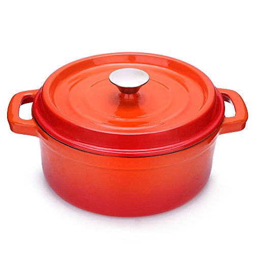 Fresh Australian Kitchen Enamelled Cast Iron Round Casserole Pot. Small Sized 20cm Orange Dish Pan.