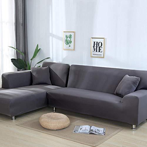 WSNBB Sofá de la Esquina Fundas para Las Mantas del Spandex de Espacio de Color 2piece Cobertura sólidas elásticas Comprar Toalla sofá Extensible El módulo Debe Vivir,18 Color,4 Lugares Primero.
