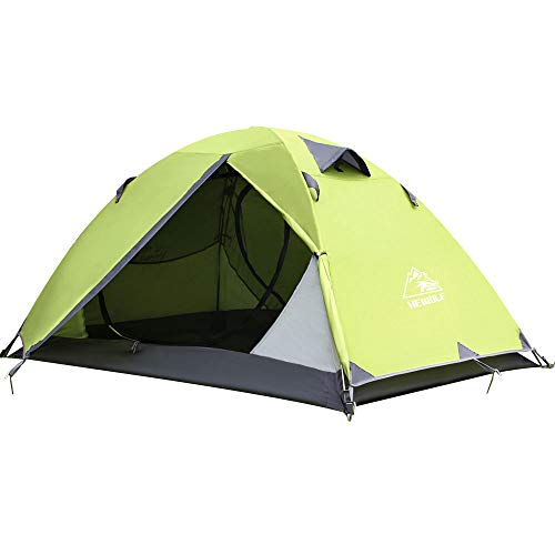HEWOLF 2 Man Lightweight Backpacking Tent - Waterproof Dome Tent Windproof Camping Hiking Tent 1-2 Person Double Layer For Climbing Fishing Survival Festivals Family Short Weekends