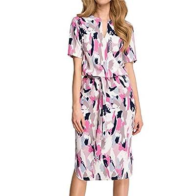 Women Midi Party Dresses Geometric Print Summer Boho Beach Dress Loose Batwing Sleeve Dress Vestidos Plus Size,Rose Red,XXL by Big Incisors
