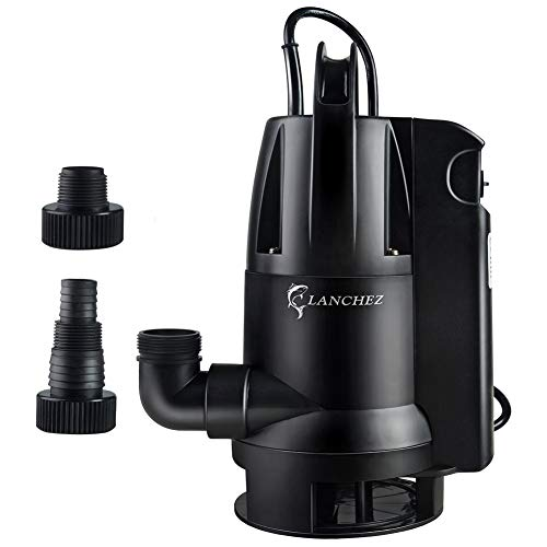 Lanchez 1/2 HP Submersible Water Sump Pump with Built-in Float Switch for Clean/Dirty Water Draining Transfer, 25ft Power Cord
