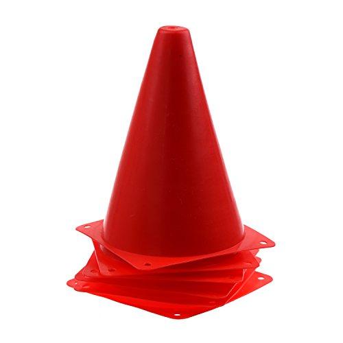 SODIAL(R) 6 PCS Multi-fonction Securite Agilite Cone pour Football Soccer Terrain de sport Pratique Perceuse Marquage - Rouge