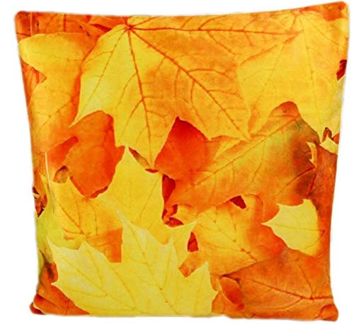 tischdecken-iris-shop Kissenhüllen weiche Kissenhülle 40x40 cm Blätter Kurzvelours Dekokissen Kissenbezug Fotoprint Kissen Sommer Herbst (Blätter Gelb Orange)