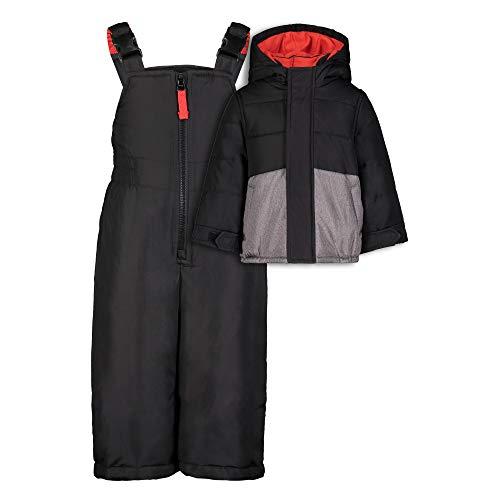 Carter's Baby Boys' Heavyweight 2-Piece Skisuit Snowsuit, Black/Grey Color Block, 12MO