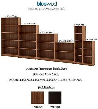 Bluewud Alex Wall Book Shelf/Home Decor Display & Storage Rack Cabinet Unit (Walnut, 5 Shelves)