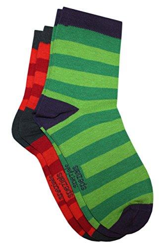 Weri Spezials Kinder Socken Ringel Doppelpack in gruen, orange Gr.35-38 (9-10 Jahre)